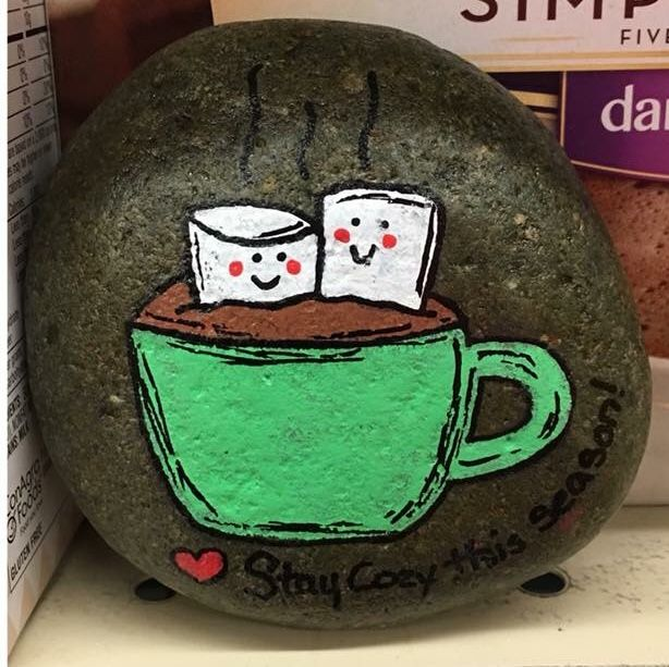 Hot Cocoa Love Painted Rock