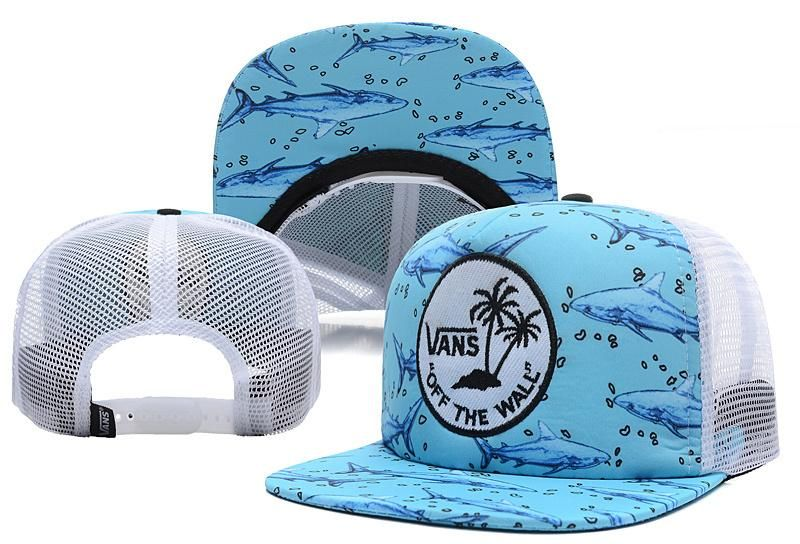 7a207914a6b Men s Vans Surf Patch Sharks Mesh Back Trucker Snapback Hat - Blue   White