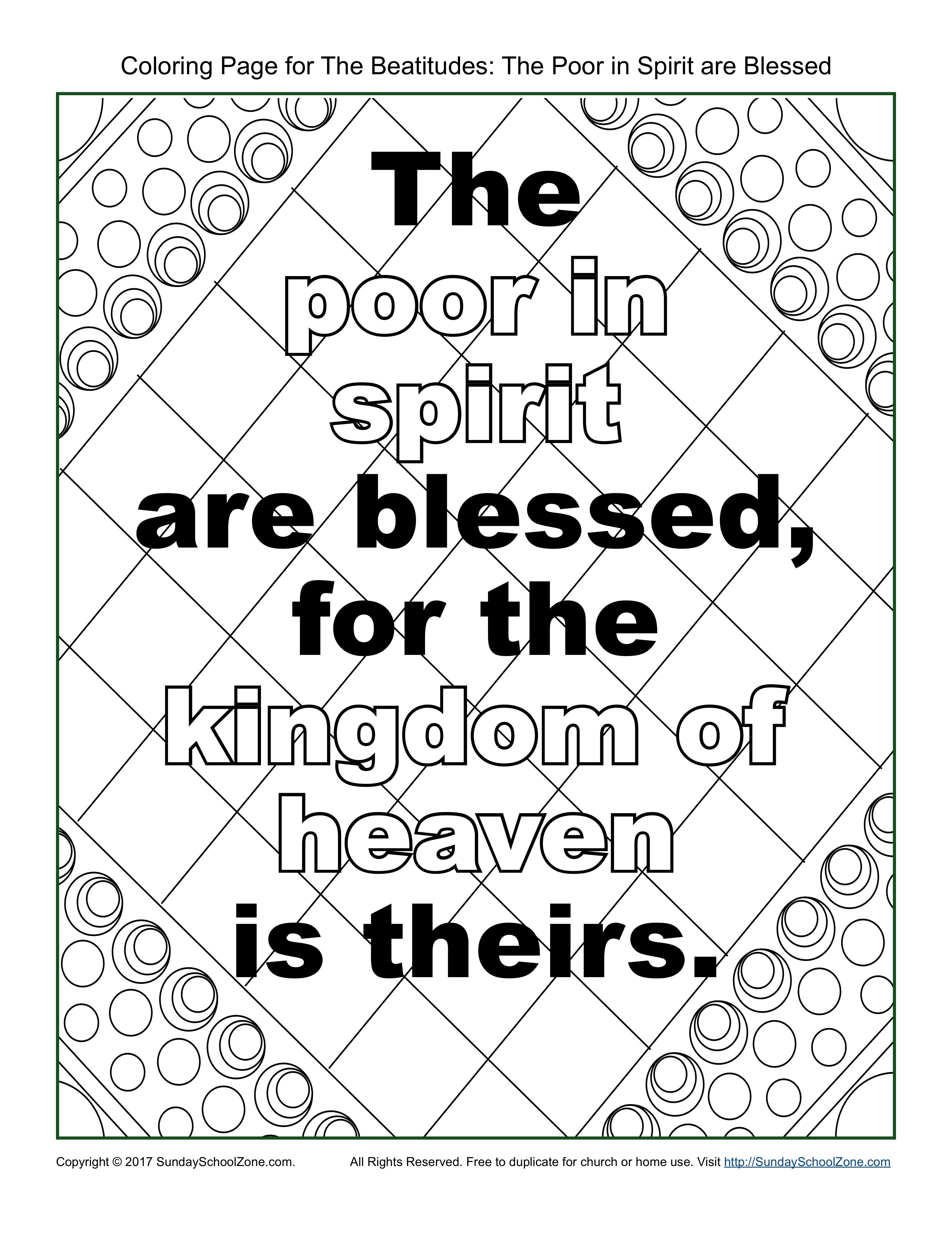 Poor In Spirit Beatitudes Coloring Page On Sunday School