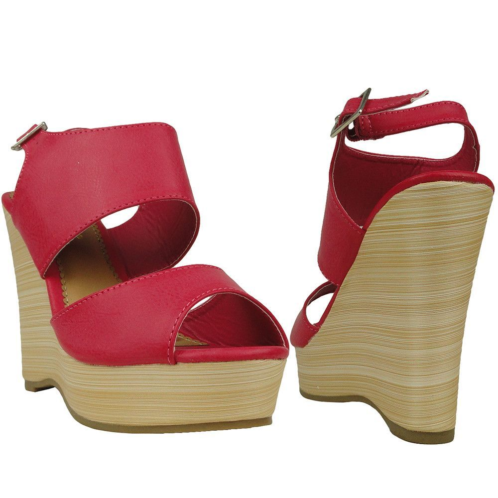 Womens Platform Sandals Wedge Thick Strap Open Toe Adjustable Buckle Pink
