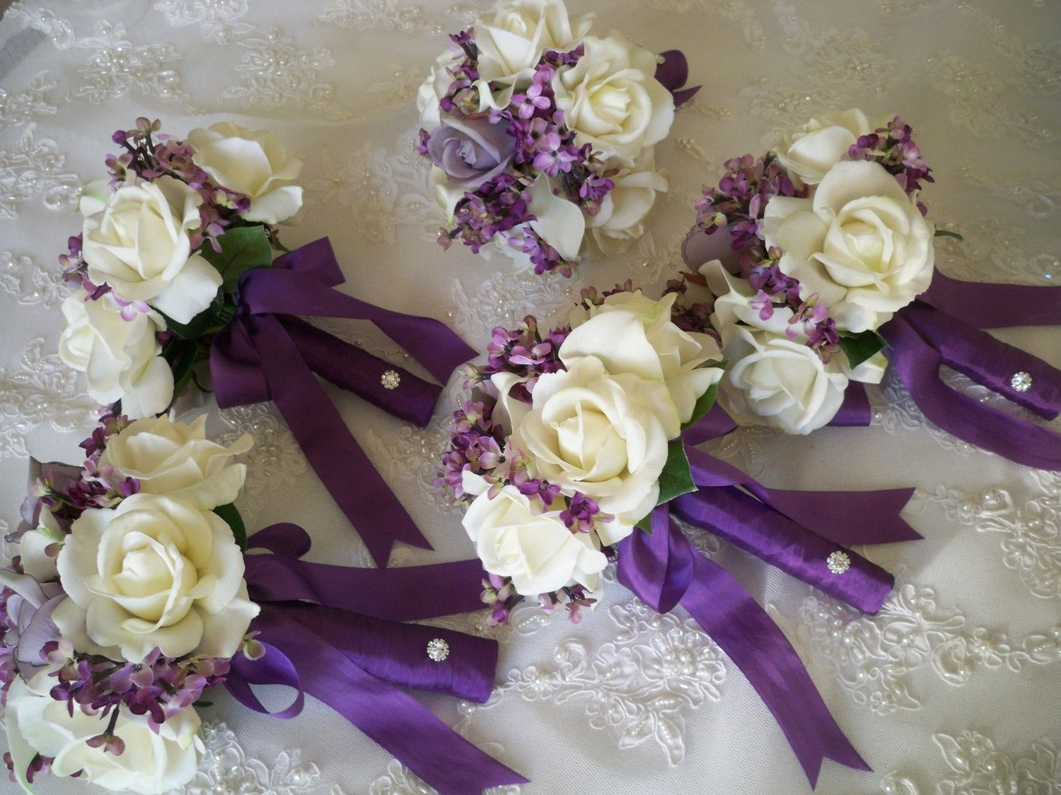 Silk Flower Bouquet Of Lilacs And Realtouch Rose Bridal Bridesmaids Boutonniere Destination Wedding