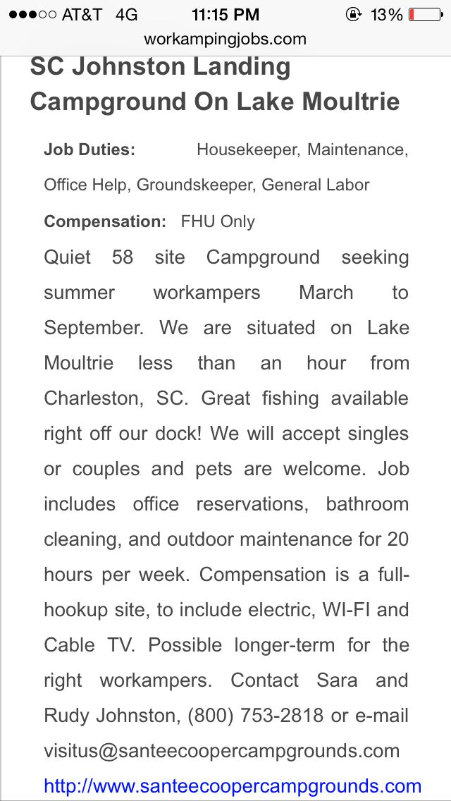RV Camp Work Job
