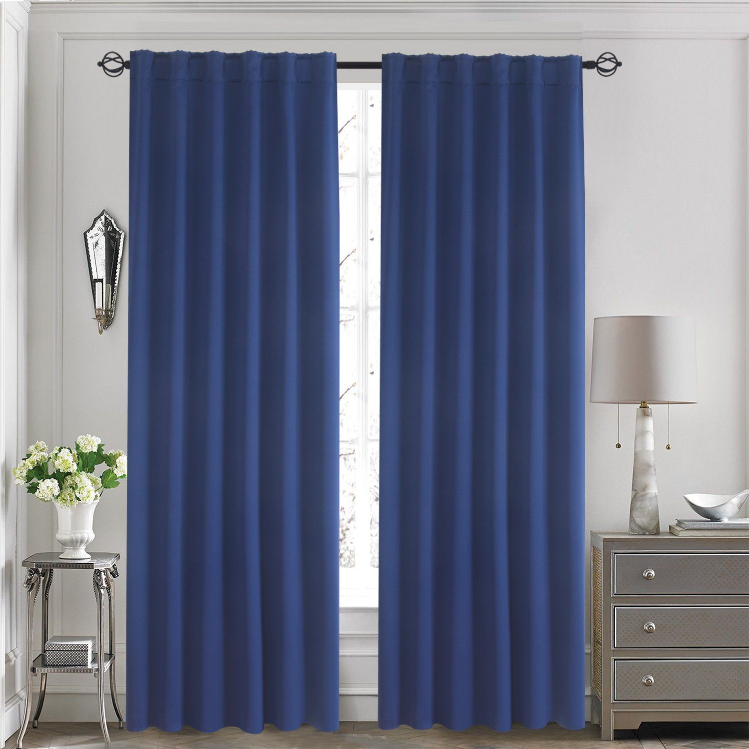 Aquazolax Thermal Insulated Solid Blackout Drape Curtains With Rod