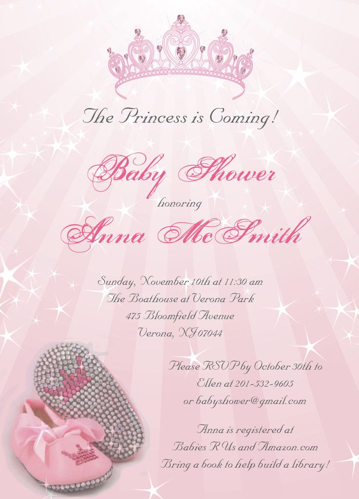 Princess Baby Shower Invitationsperfect for girl baby