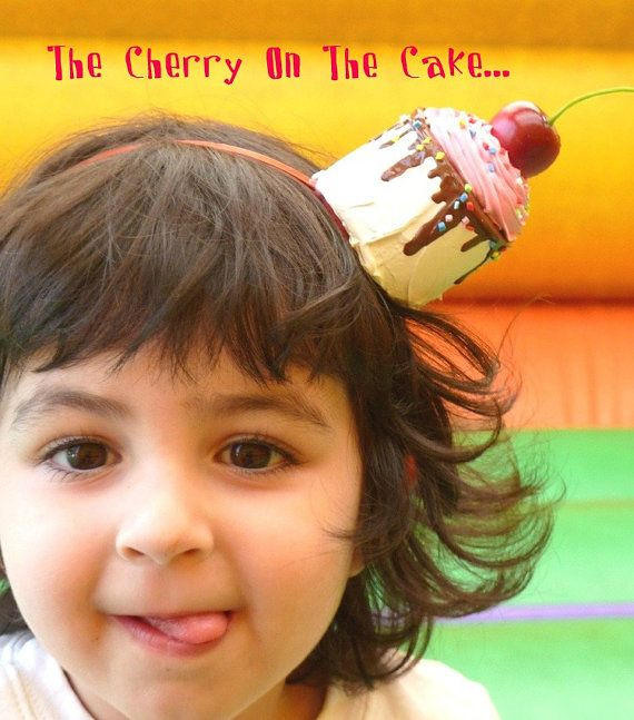 "Cake Headband ""The Cherry On The cake "" tea party headband ,photography prop ,first birthday party hat and for cupcake costume pink icing"