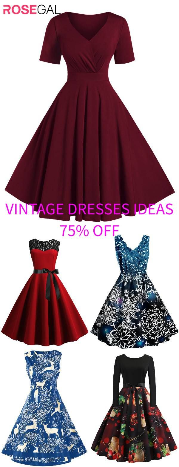 Rosegal vintage dresse Christmas party Dress outfits for christmas [Extra 20% OFF Code: RGFR20] 1