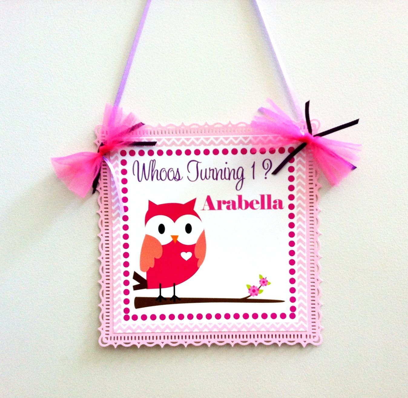 Pink Owl Door Sign for Kids Birthday or Baby Shower Party. Here is an adorable Owl Door Sign in Pink for a girl's birthday party or a baby shower! Take a look at this cute pink Owl with a heart on her chest, just a little detail that adds a lot of cuteness for this door sign. The #owl stands on a branch. Your personalized text is placed on the top and right side of this sweet owl. #baby #birthday #party