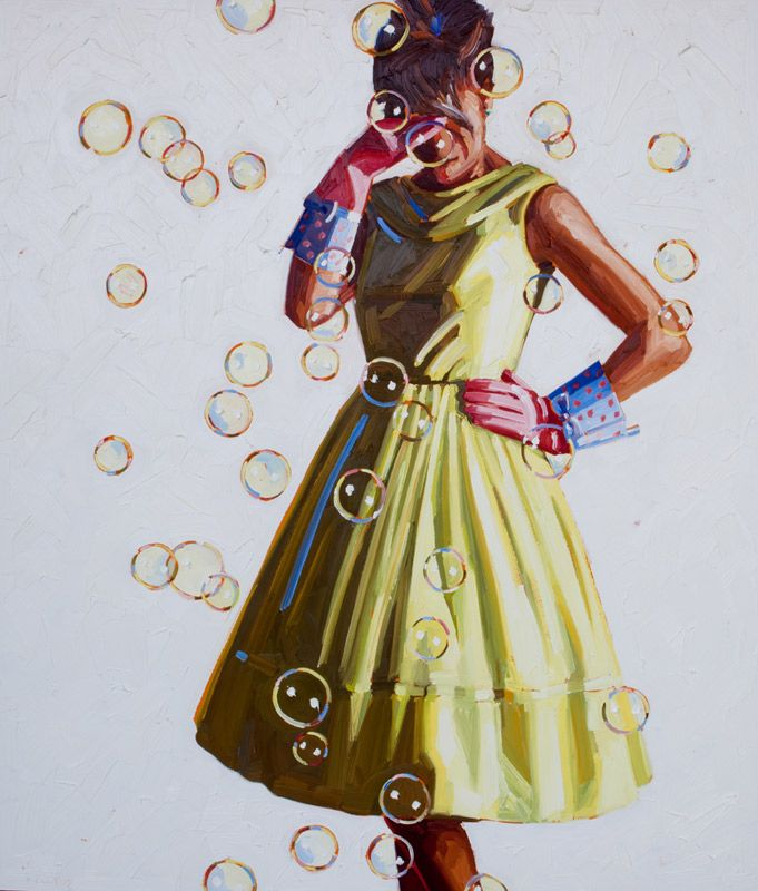 Fab 60s Artwork: Lovely Painting Of A Gal In A Fab Vintage 60s Dress