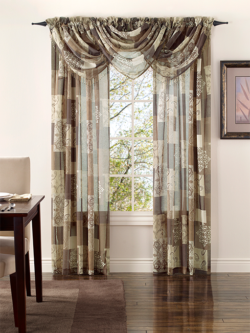 Jasmine Sheer Curtain In Mocha By Renaissance Home Fashion Window Treatments Sheer Fancy Curtains Waterfall Valance