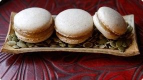 Gluten Free Pumpkin Seed Macarons w/ Apple Butter. Much easier than your classic...#apple #butter #classic #easier #free #gluten #macarons #pumpkin #seed #pumpkinseedsrecipebaked