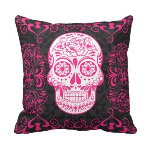 cushion pink skull on black white stripe | Hot Pink Black Sugar Skull Roses Gothic Pillow from Zazzle.com