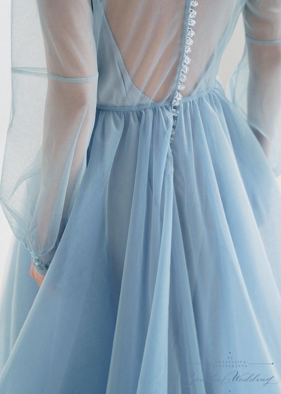 Long Sleeve Dress Blue Wedding Dresstulle Wedding Gown Boho Etsy Light Blue Aesthetic Blue Ball Gowns Baby Blue Aesthetic [ 1112 x 794 Pixel ]