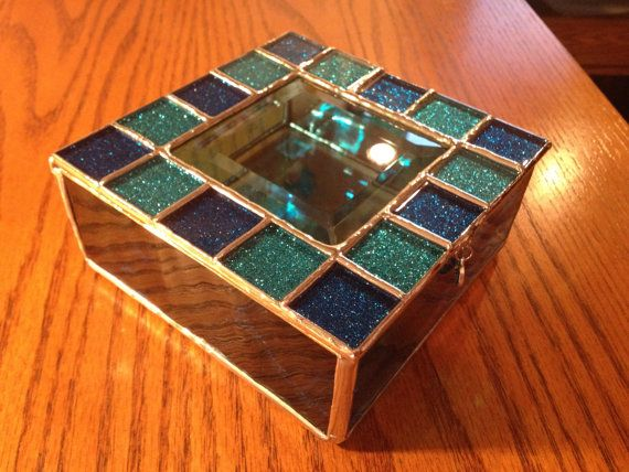 Stained Glass Jewelry Box Blue Sparkle Craft Ideas