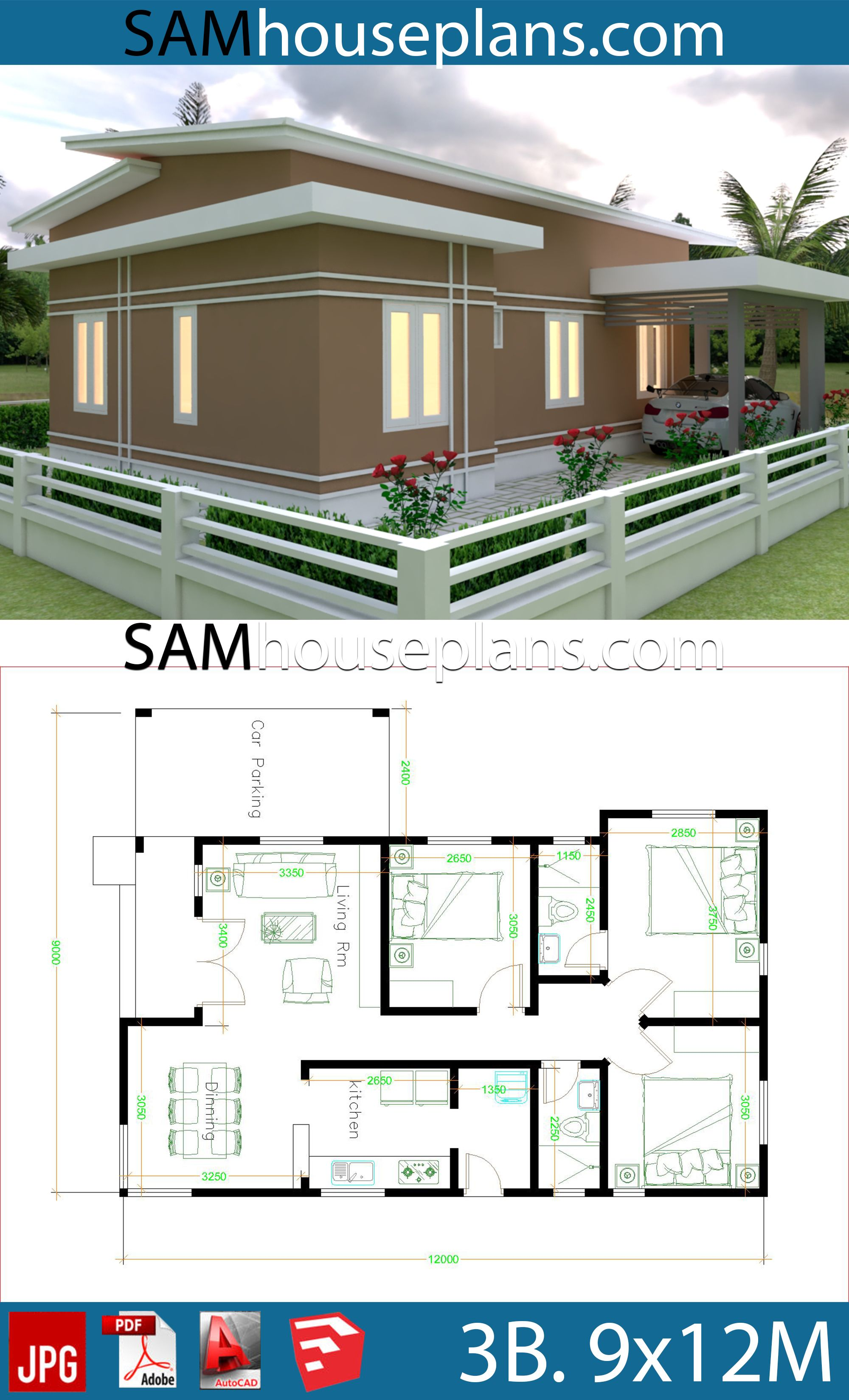 House Plans 9x12 With 3 Bedrooms Roof Tiles Sam House Plans House Plans Beautiful House Plans Small House Design Plans