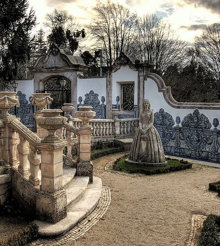 Stone Lady in the Garden. Jardim da Casa Museu Bissaya Barreto, Coimbra, Portugal
