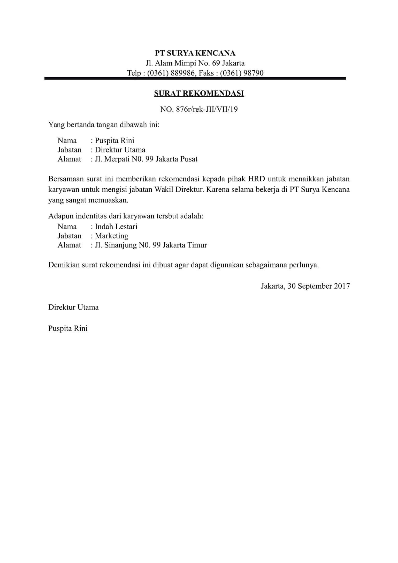 Contoh Surat Rekomendasi Surat Tanda Nama