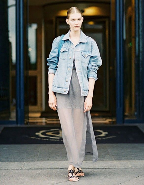 19ba87e87776 Ground the daintiness of a floaty maxi dress with a sturdy oversized jean  jacket // #streetstyle