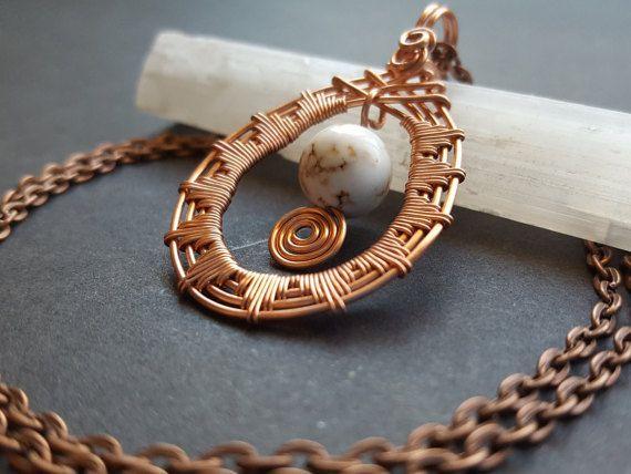 Howlite Necklace, Wire Weaved Jewelry, Triangle Design, White Howlite Stone, One…