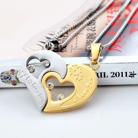 split heart necklace for boyfriend and girlfriend set of 2. Black Bedroom Furniture Sets. Home Design Ideas