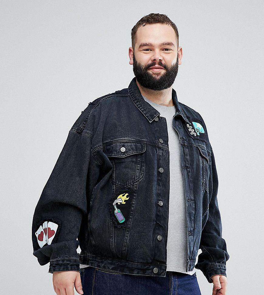 ASOS PLUS Schwarze Oversize Jeansjacke mit Aufnähern