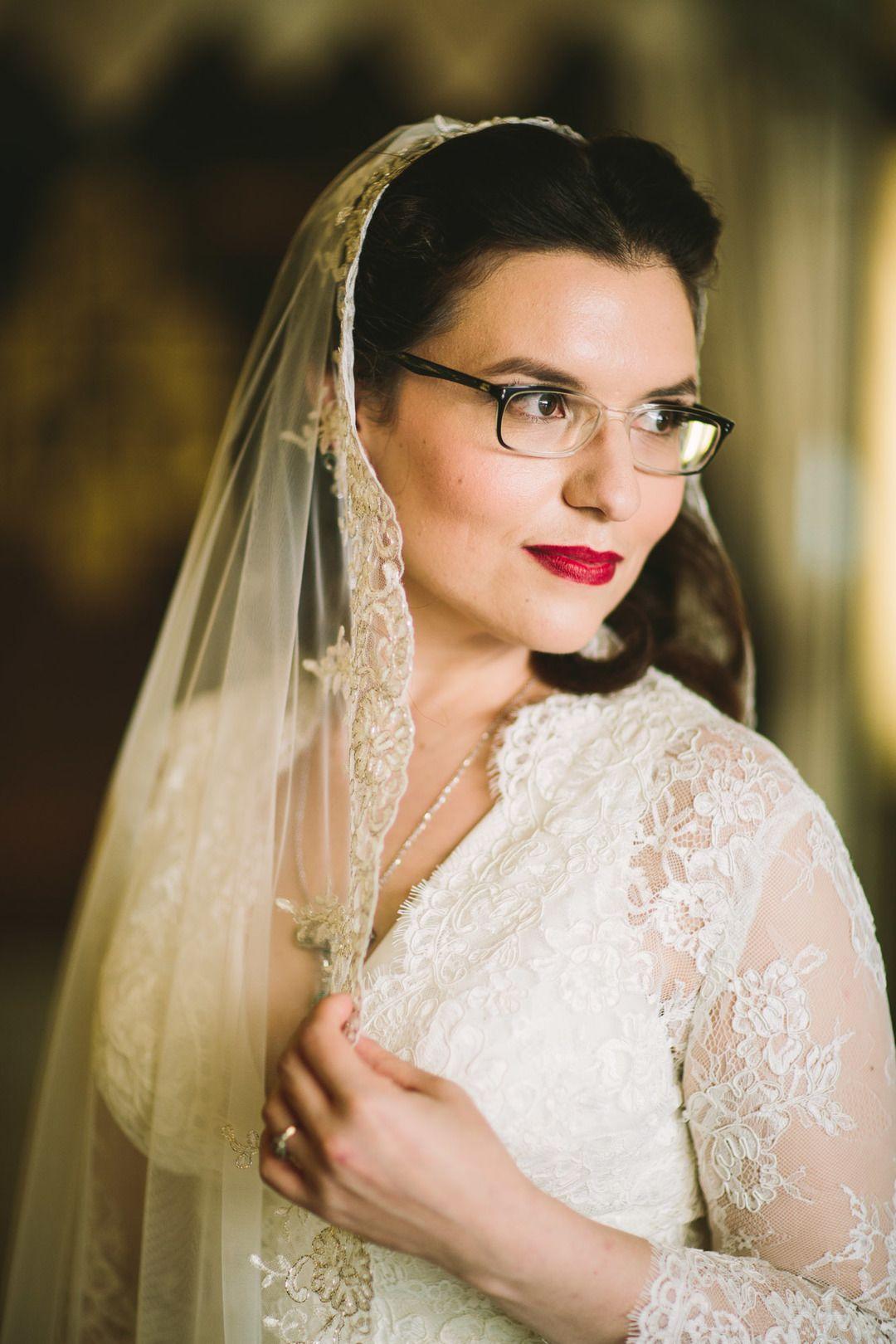Vintage wedding style, lace bridal veil, bright red lip