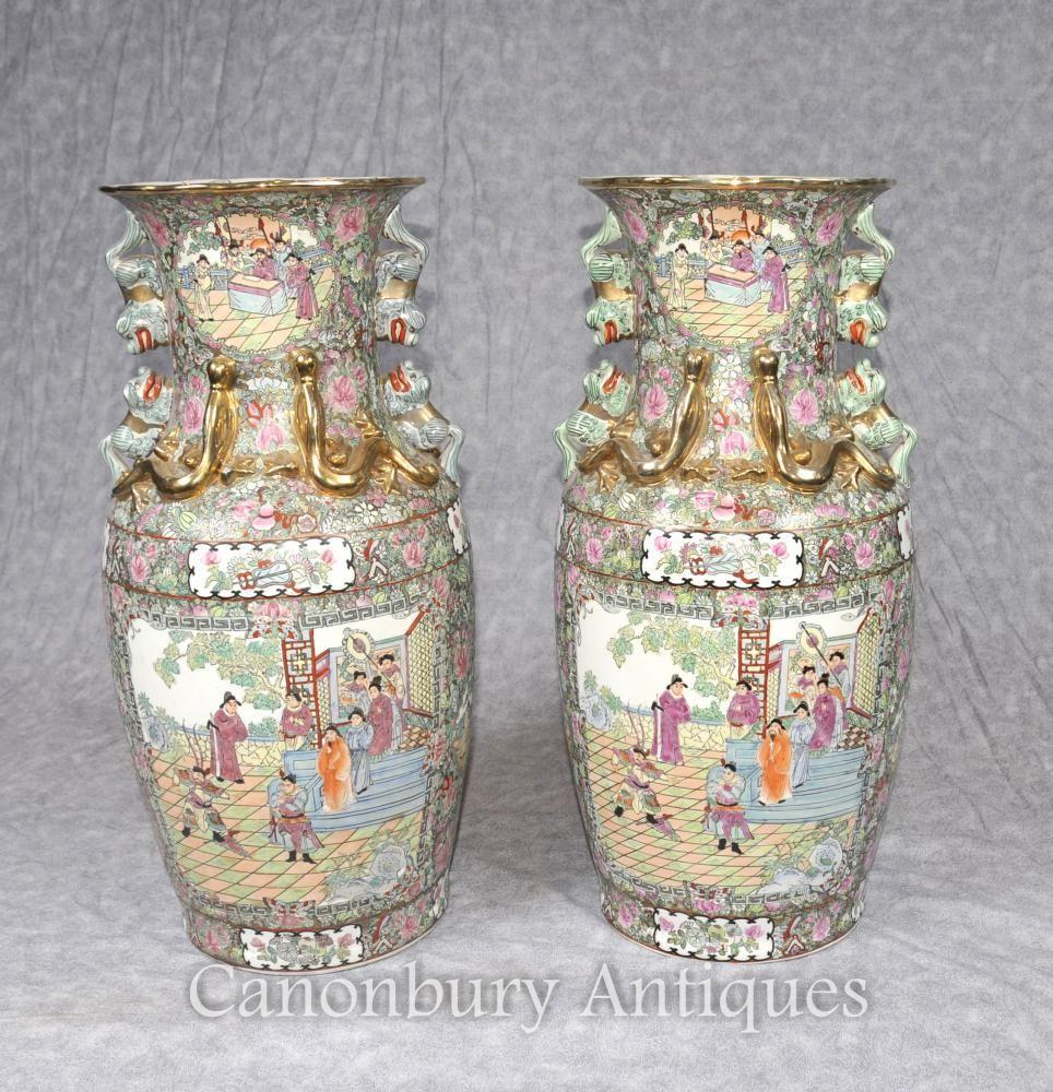 Pair chinese cantonese vases urns painted foo dogs canton pair chinese cantonese vases urns painted foo dogs canton reviewsmspy