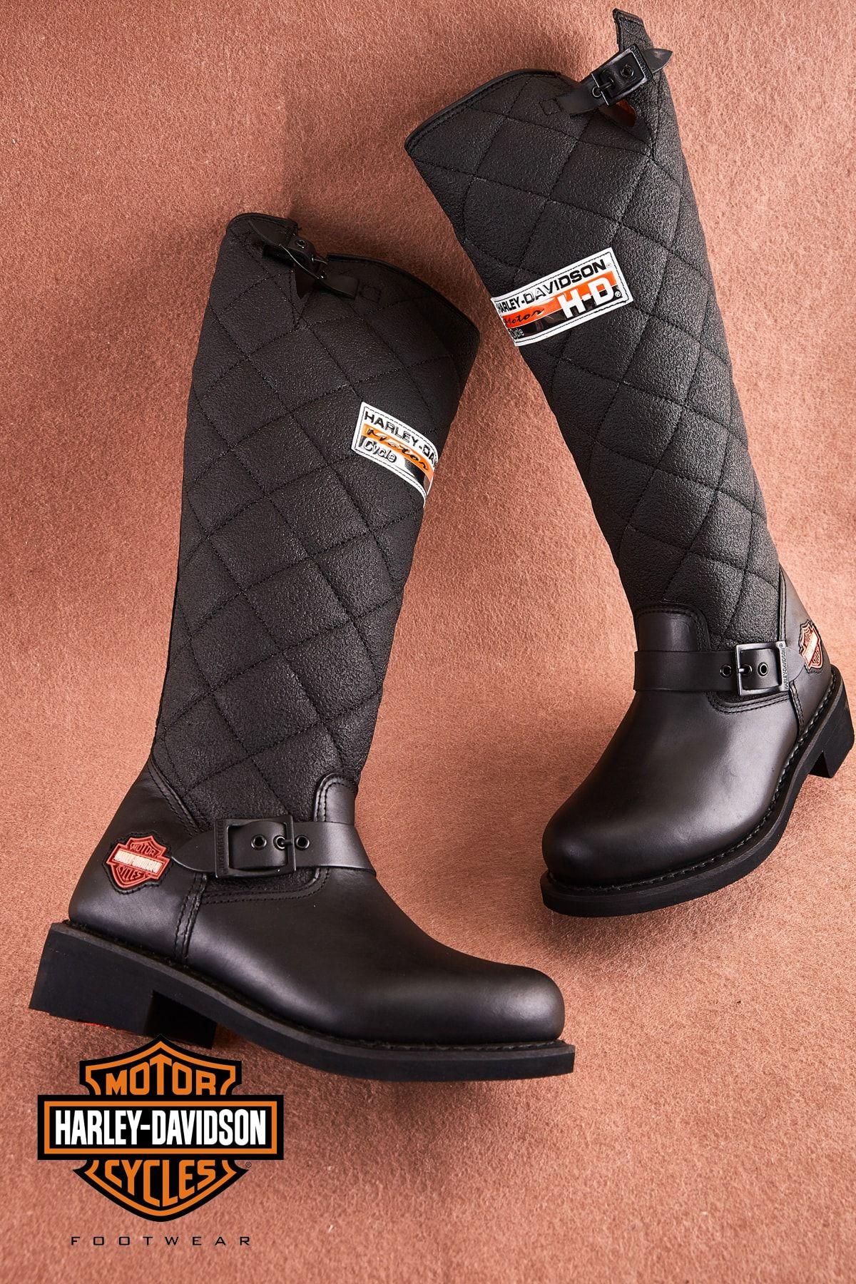 Harley Davidson Hakiki Deri Siyah Kadin Cizme Trendyol 2020 Cizmeler Harley Davidson Hunter Boot