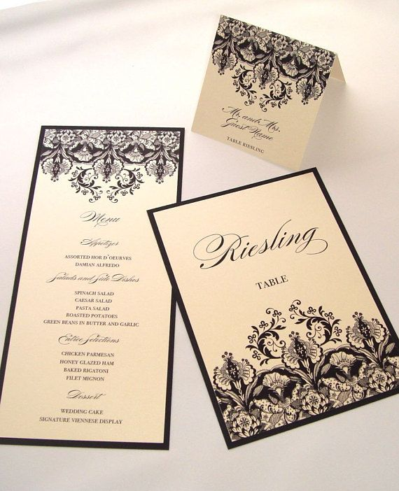 Christina Floral Damask Wedding Reception Items Menu Table Number