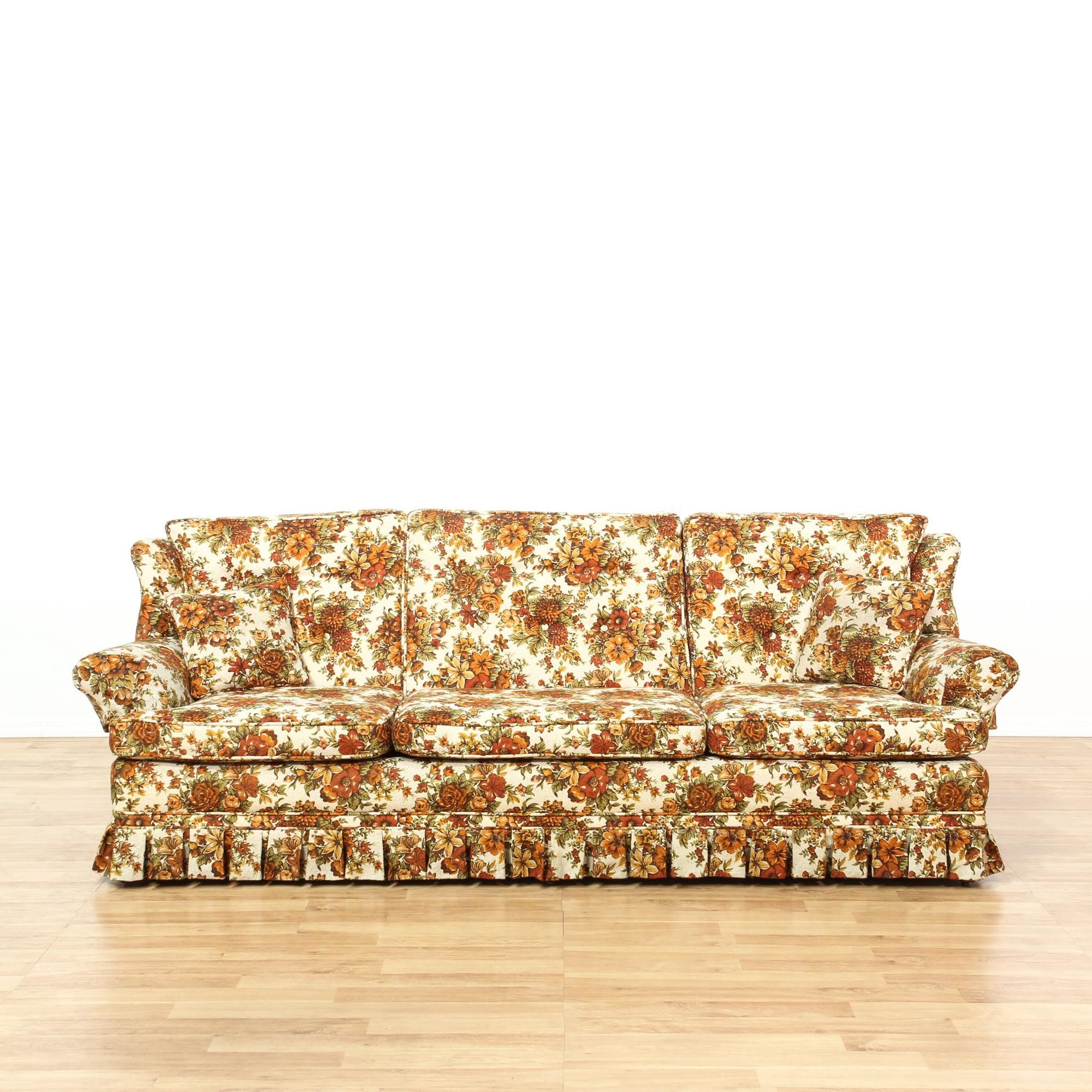 Vintage Orange Floral Sofa