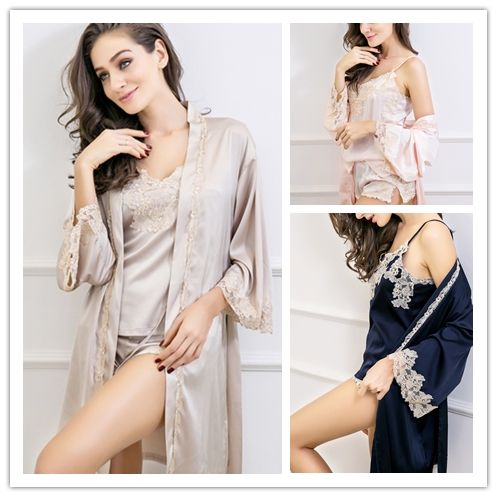 19 Momme Lovable Pure Silk Pajamas Set   Robe - DNS025  17477df04