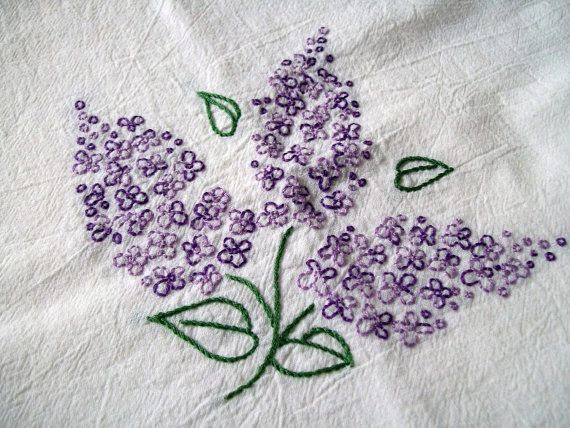 Hand Embroidered Dish Towel Purple Lilacs Etsy Hand Embroidered Purple Lilac Embroidery Designs