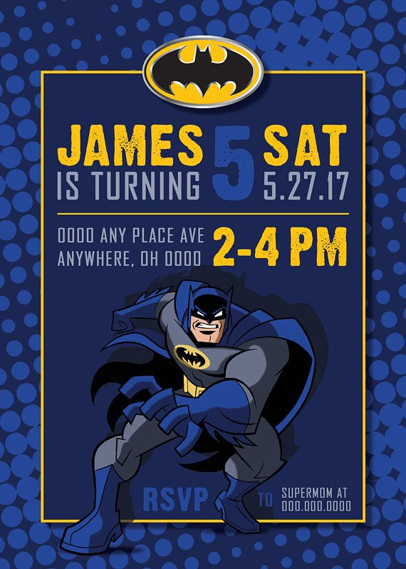 Custom Batman Birthday Invitation Batman Birthday Batman