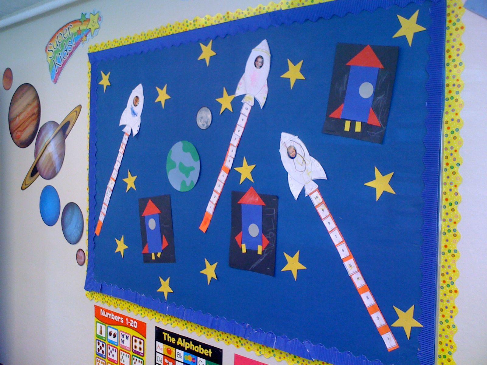 Preschool Kindergarten Space Themed Bulletin Board