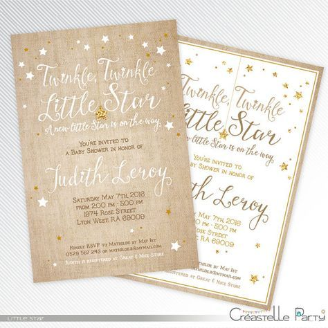 Burlap and gold glitter Twinkle twinkle little star invitation