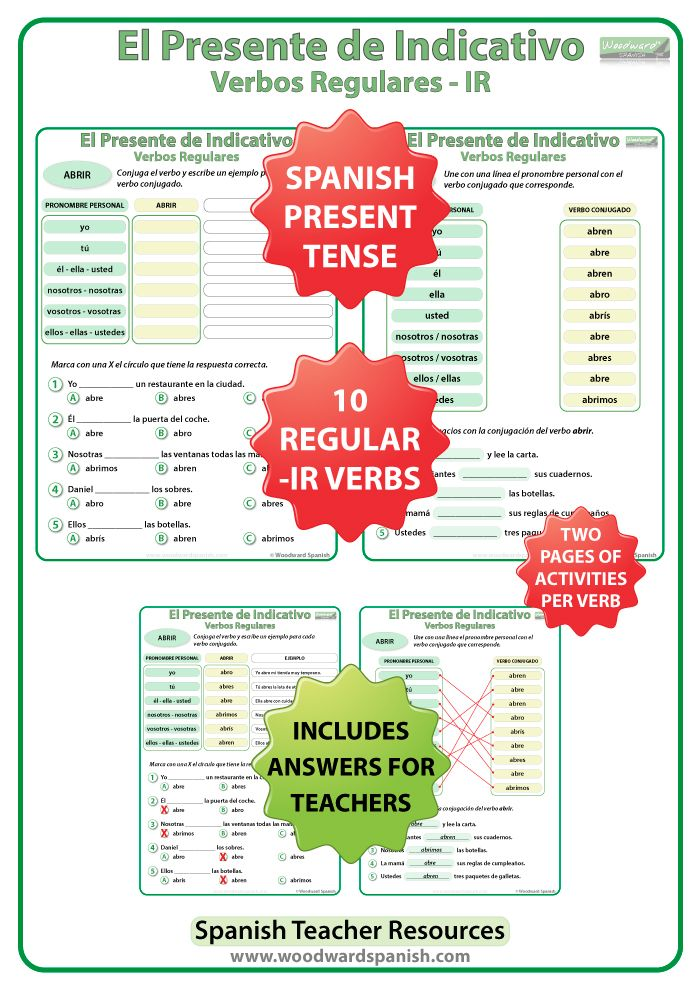 Conjugation Worksheets For 10 Regular Ir Spanish Verbs In The