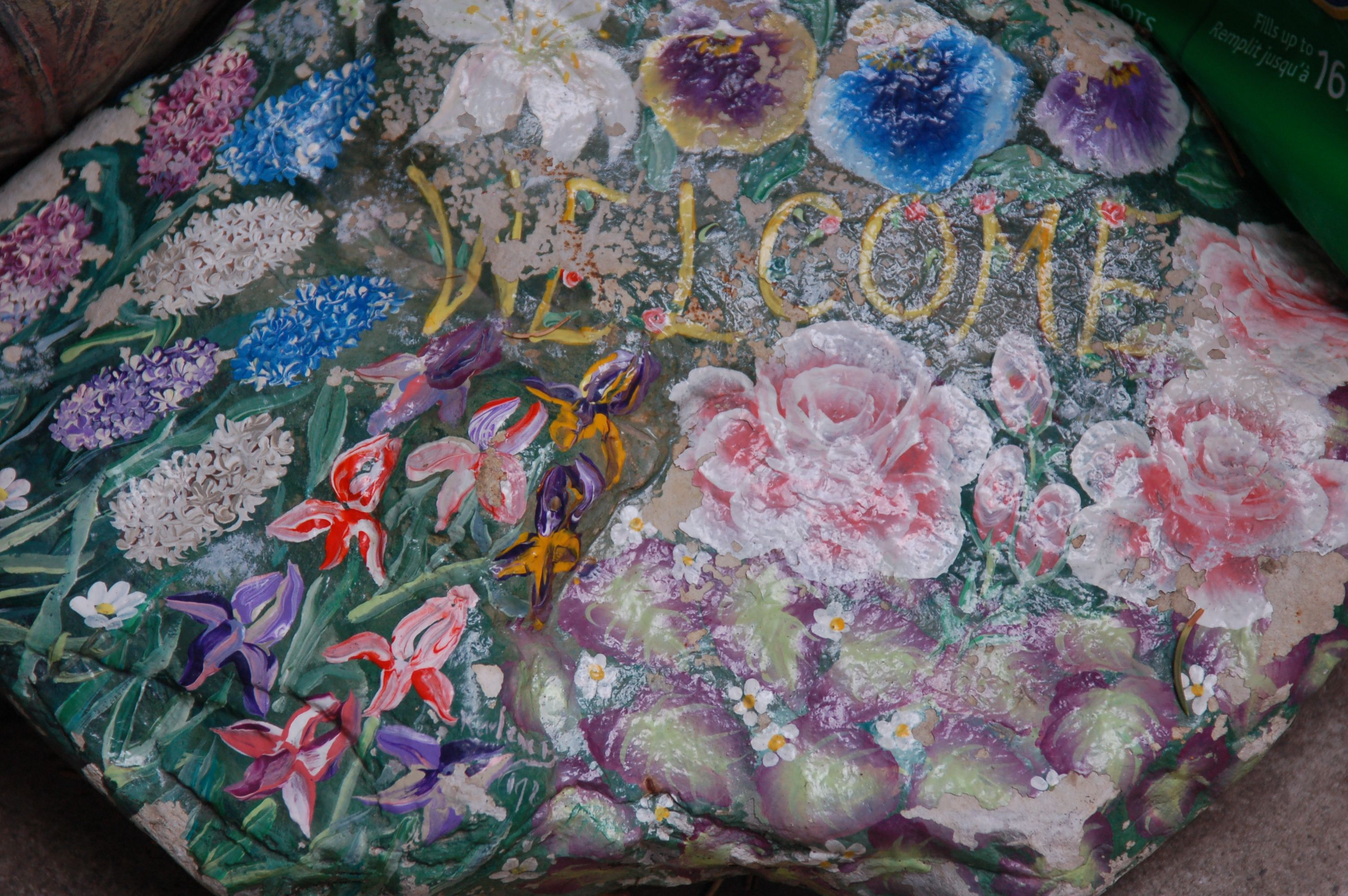 This stone was painted for me years ago by a former Chinook Park School parent. Beautiful work!