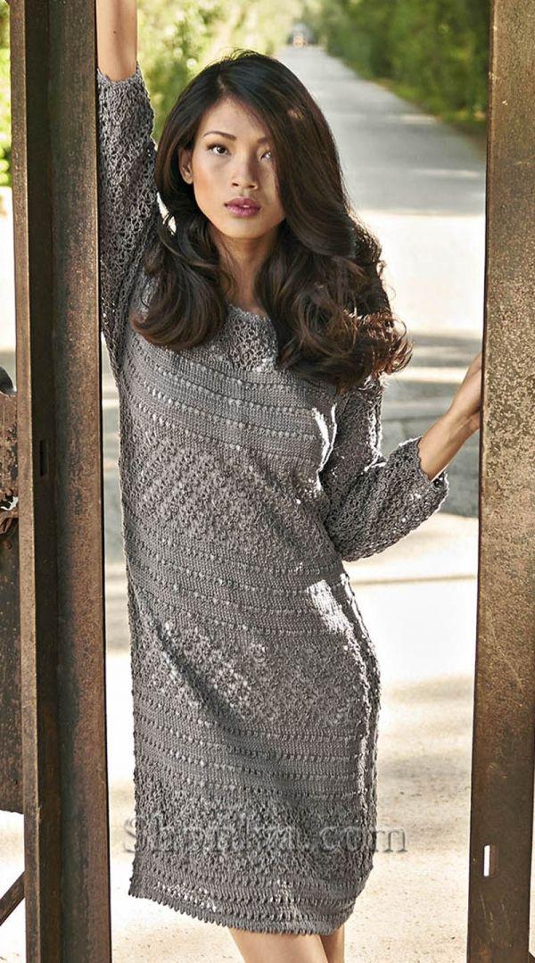 1f60b913471ba94 Серое платье с ажурным узором | Платье | Crochet clothes, Knit dress ...