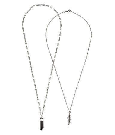 92388cb3fd6 2-pack Necklaces | Silver-colored/feather | Men | H&M US | Men's ...