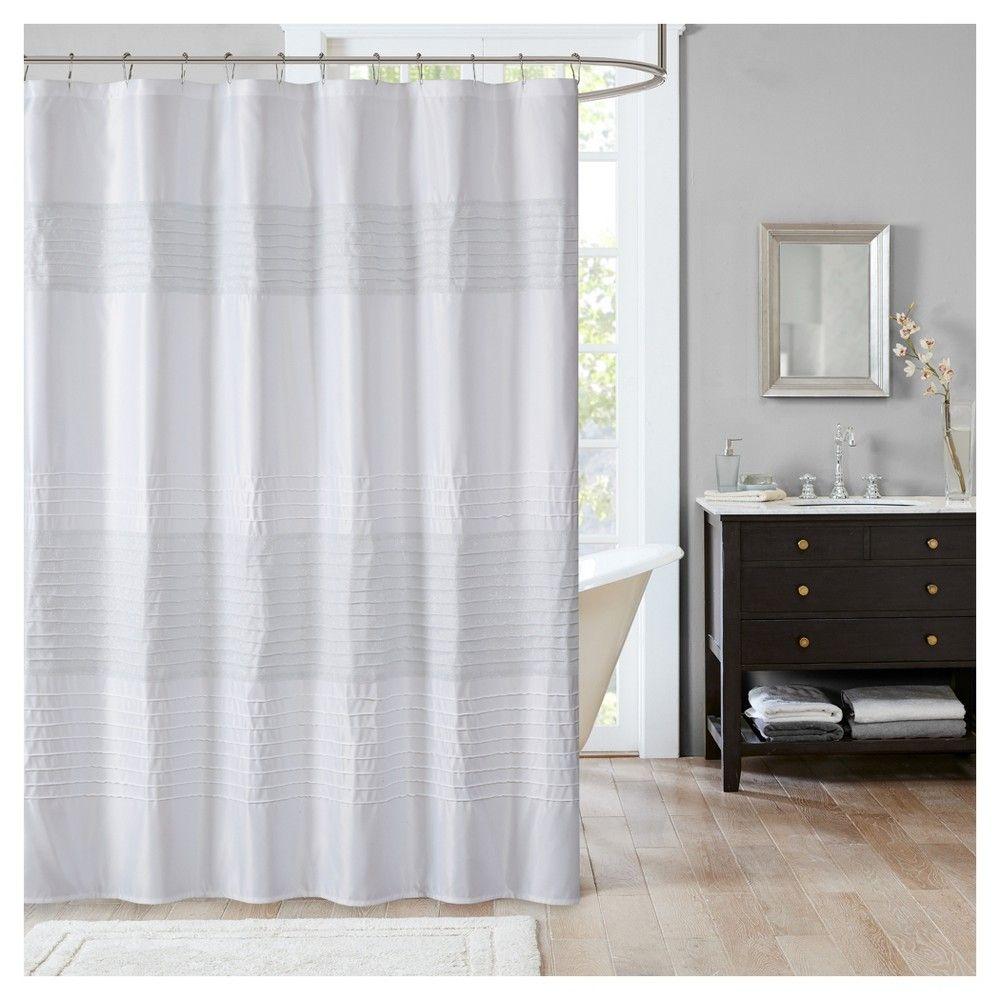 Salem Metallic Pieced Pintuck Shower Curtain White 72x72