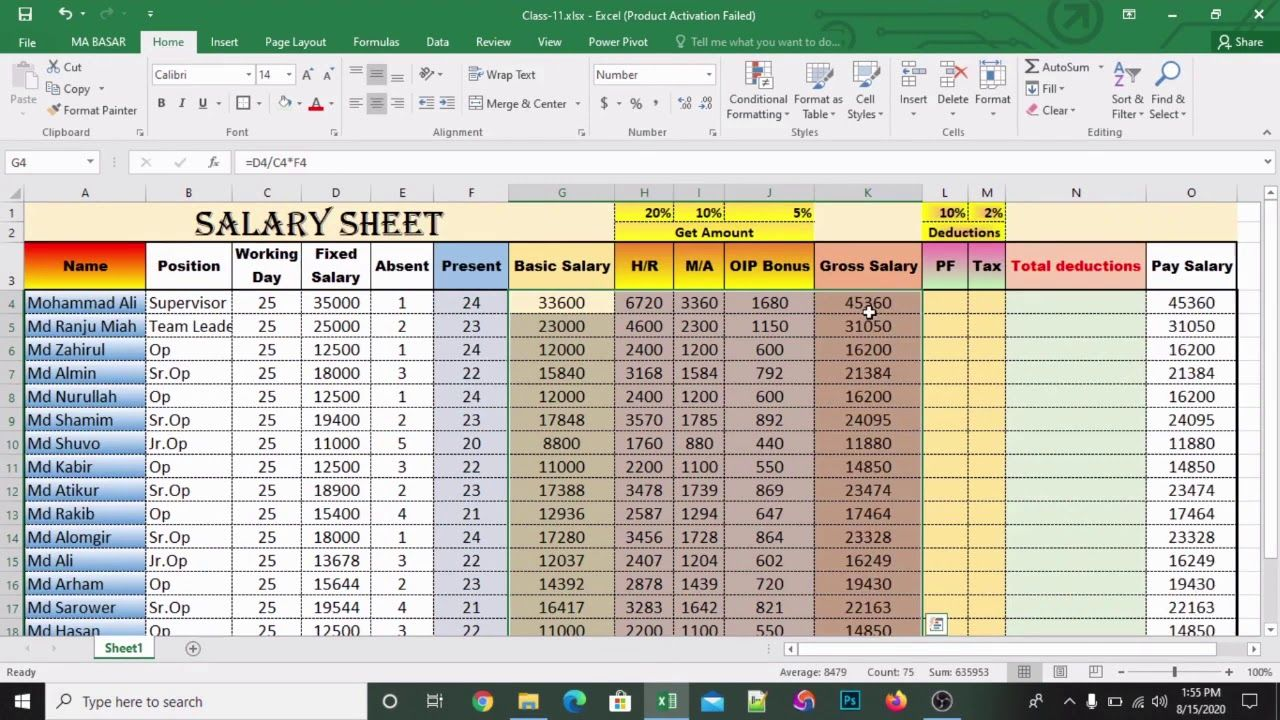 How To Make Salary Sheet In Microsoft Excel Basar360xl Excel Microsoft Excel Microsoft Excel vba get active worksheet name