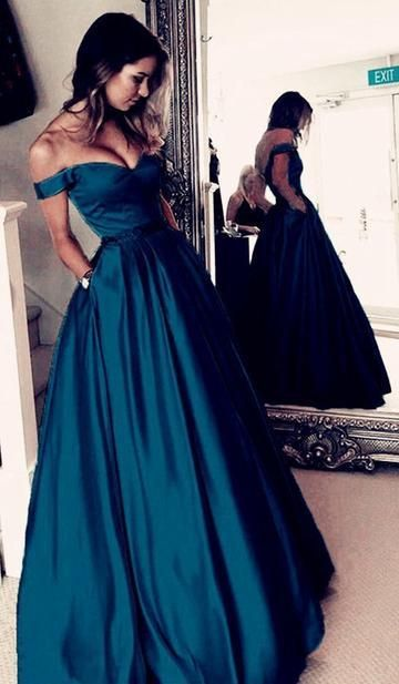 Off the Shoulder A-line Long Prom Dress Custom-made School Dance Dress Fashion Graduation Party Dress YDP0446 #schooldancedresses