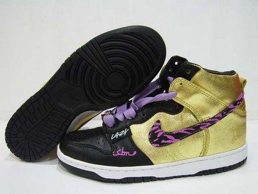 womens nike dunk purple gold