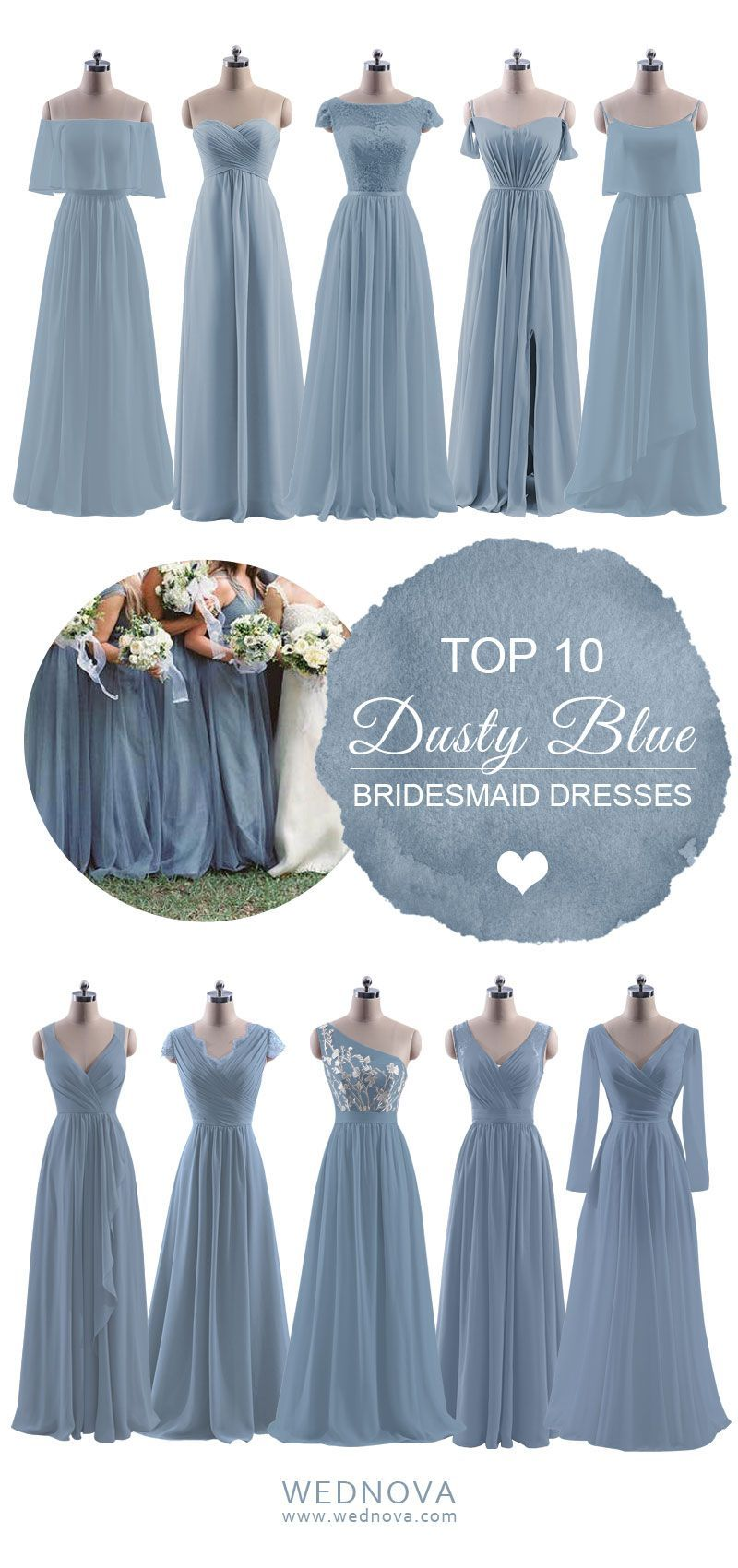 Dusty blue bridesmaid dresses long lace details with long sleeves