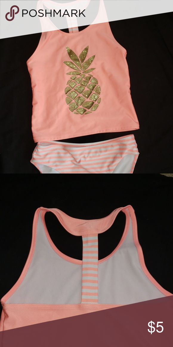 7969a66d9 KIDS 💌5 for $25💌 swim suit Girls tankini, peach stripe and gold glitter