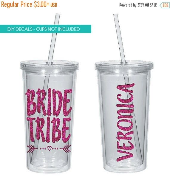 On sale bride tribe bachelorette party tumbler decal glitter available vinyl sticker only