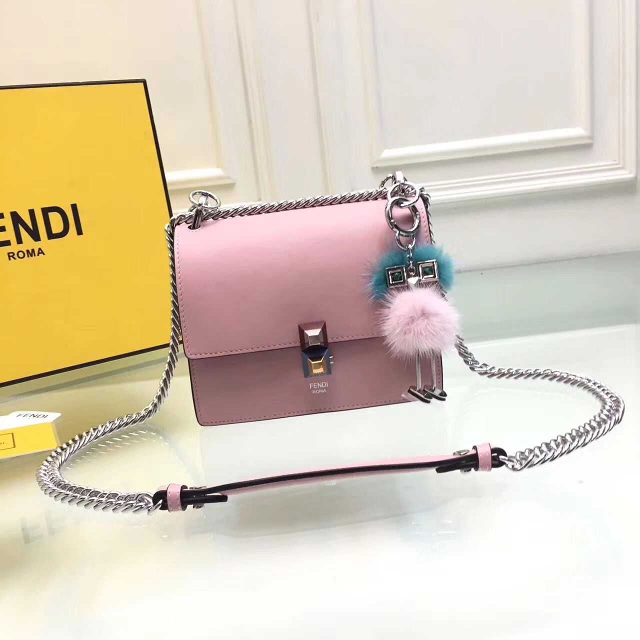 b0a8e2e84d ... clearance fendi kan i chain flap square bag original leather version  3cbd4 b1e6b