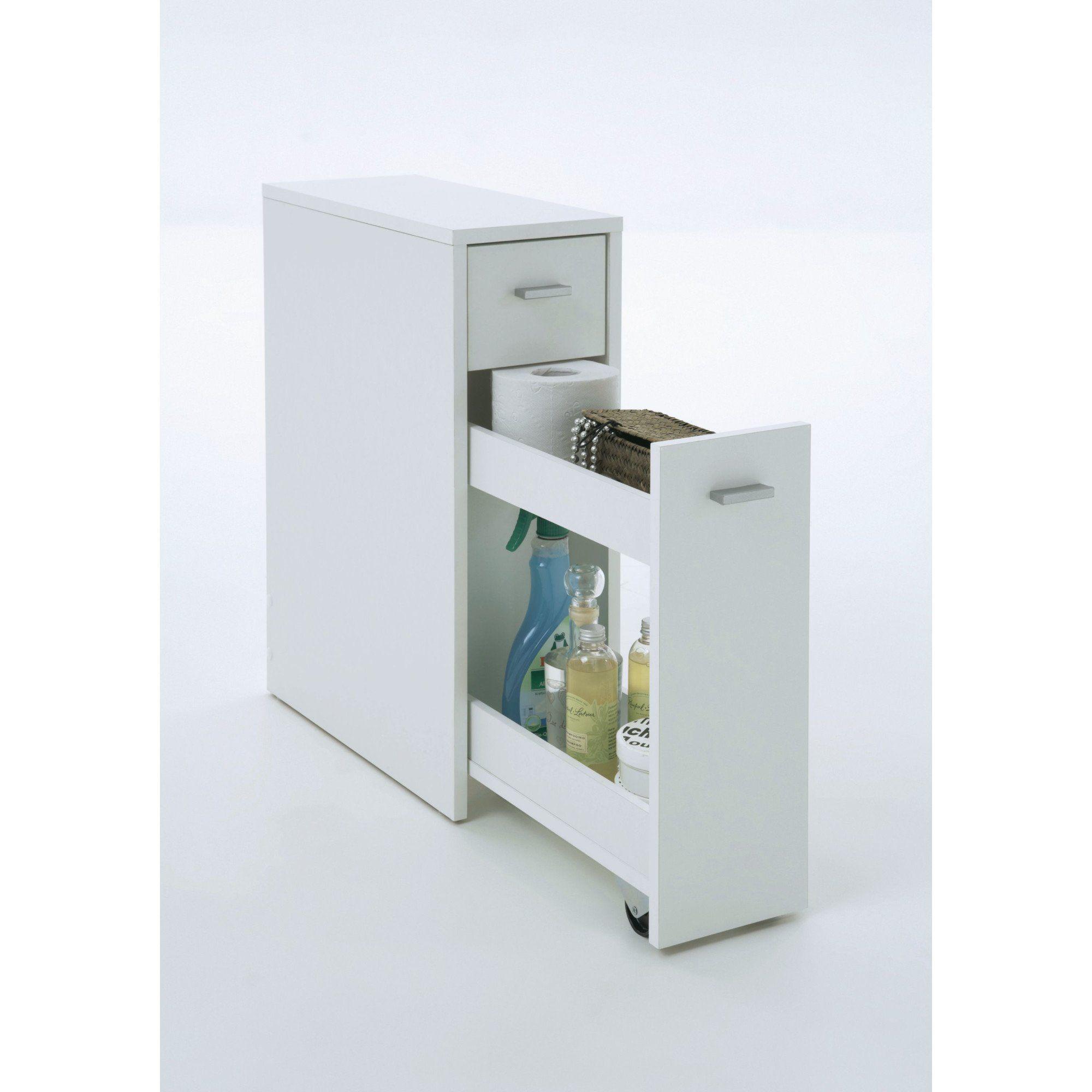 Schmaler Badezimmerschrank Mit Schublade Mdf Weiss Ca T45 X B20 X