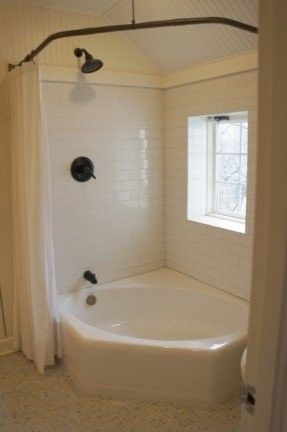 2 Person Corner Shower Tub Combo With A Shower Curtain Corner