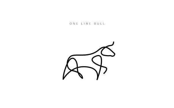 One Line Bull Cow Tattoo Bull Tattoos One Line Animals