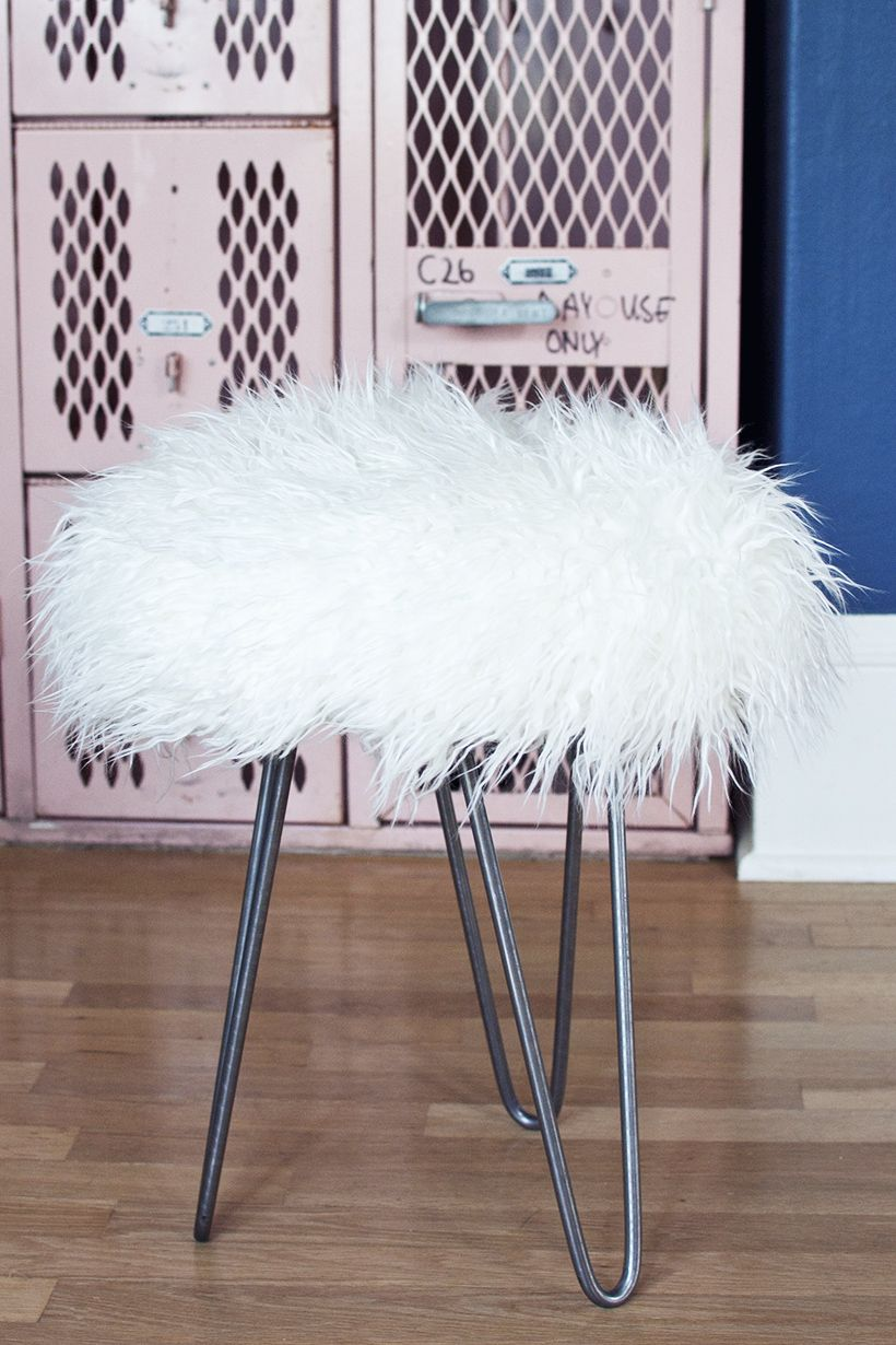 Make a Faux Fur Stool with Hairpin Legs Transient